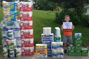 boy with wish list supplies